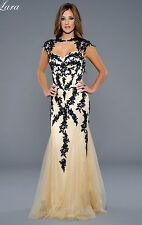 Navy/Nude Lace Applique+Tulle Party Formal Evening Ball Prom Dress Wedding Gown