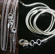 """16""""~24""""1mm Rolo / Snake Silver EP Women's Chain Necklace For Pendent Jewelry"""