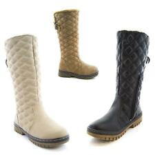 NEW WOMENS LADIES QUILTED FASHION WINTER MID CALF UNDER KNEE BIKER BOOTS SHOES