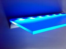Shelf in Tempered Glass + aluminium profile for LED strips, illuminated bathroom
