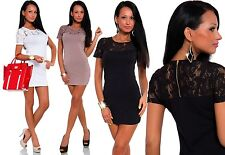 Womens Mesh-Lace Sleeves & Neck Line Back Zipper Party Mini Dress/Club Wear #378
