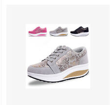 Womens Lace Up Punk Gothic Running Floral Wedge Platform Casual Shoes Sneakers