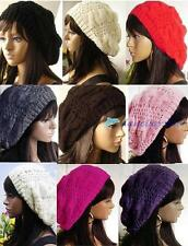 Fashion 9 Colors Warm Winter Women Beret Braided Baggy Beanie Hat Ski Cap M00