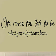 It's Never Too Late to Be What You Might Have Been Inspirational Wall Decal