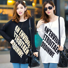 Fat Girls Fall Lager Size Loose Blouse Modal Long Batwing Sleeve Print Long Tee