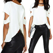 Women Short Sleeve Chiffon Backless Cut-out Shirt Chic T shirt Loose Blouse Tops