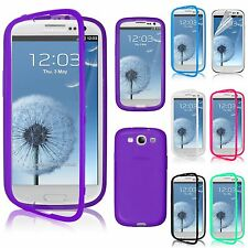 TPU Wrap Up Case Cover w/ Built-In Screen Protector For Samsung Galaxy S3 i9300