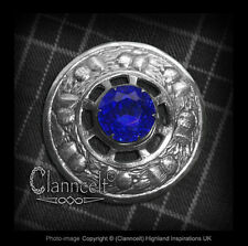 *SALE* KILT PLAID BROOCH -TRADITIONAL SCOTTISH THISTLE WREATH DESIGN BLUE STONE