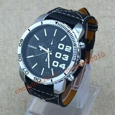 2014 Fashion Over Size Face Big Leather Band Mens Boys Sport Quartz Wrist Watch