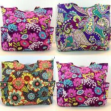 NEW VERA BRADLEY PLEATED TOTE flower Shower Flutterby  Heather