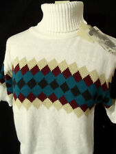 Nwt ROCKIES Argyle crop Western Sweater top womens S,L White Wine Teal turtlenec