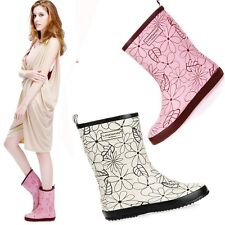 New Women In-Tube / Middle Leg Rain Boots Fashion Small Fresh Flowers Decorate