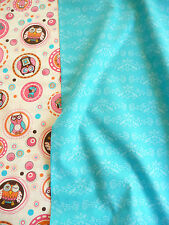 Patchwork Fabric,Owl,Ornaments,100% Cotton,Turquoise,Pink,Cream,Circles,Dots
