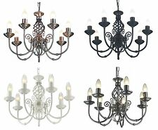 TRADITIONAL CLASSIC BARLEY KNOT TWIST 7 ARM CEILING LIGHT FITTING 4 FINISHES