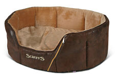 Scruffs Ranger Donut Pet Dog Bed Basket - Antique Effect Plush & Faux-Suede