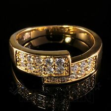 18K Gold Iced Out HipHop Bling MICROPAVE Engagement Band CZ Pinky Men Women Ring