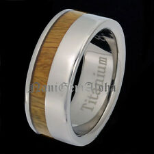 Koa Wood Hawaiian Titanium Band Ring Comfort Fit Flat Edge 8mm