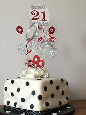 *CASCADING BALLOONS WITH RIBBON** CAKE TOPPER ANY NAME/ANY COLOUR & AGES 1 - 100