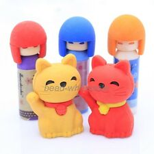 New Girl and Cat Novelty Children Party Rubber Pencil Eraser Set 1 set