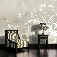 PHOTO WALL MURAL WALLPAPER WALLCOVER HOME DECOR FLORAL PATTERN SILVER GREY 566VE