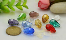 30Pcs Water-Drop 10mm Straight Hole Crystal / Glass Loose Beads 15*10mm,Hot