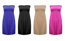 WOMENS STRAPLESS BOOBTUBE BANDEAU LADIES SHEERING GATHER PLUS SIZE VEST TOP