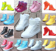 Women's Cute Candy Color Lace Up High Top Fashion Shoes Boots Casual Sneakers Sz