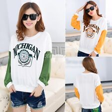 Women's Fashion Batwing Sleeve Sweater Print Loose Pullover Sweatshirt Tops 8HOT