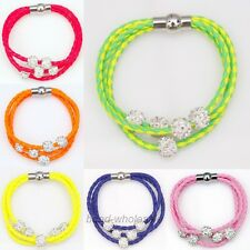 1PC Leather Braided Wristband Cuff Bangle Magnetic Buckle Crystal Bead Bracelet