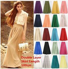 New Women Double Layer Chiffon Pleated Long Maxi Dress Elastic Waist Skirt