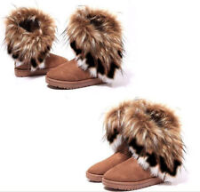 Womens Ladies Fashion Ankle Flat Faux Fur Lined Boots Warm Winter Shoes 2-9 Size