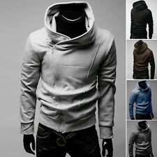 Stylish Casual Mens Hoodies Jackets Coats Tops Oblique Side Zip Outerwear S~XL