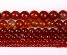 Hot Natural Red Carnelian Agate Gemstone Round Beads 4/6/ 8/10/12/14mm