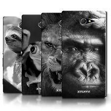 Phone Case Back Cover/Skin for Sony Xperia M2 / B&W Wildlife Zoo Safari Animals