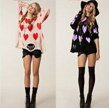 Women Heart Shape Design Hole Knitwear Sweater Pullover Long Sleeve Sweater CAD