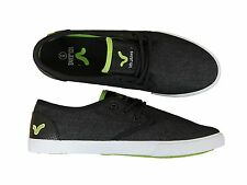 MENS NEW VOI JEANS VICTOR LACE-UP PLIMSOLLS BLACK GREEN LOW TOP SNEAKERS 6-12