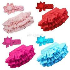 Newborn Girls Ruffle Tutu Skirt Dress Pants+Flower Headband Baby Outfits 0-24 M