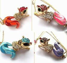 Betsey Johnson shiny crystal enamel lovely squirrel pendant Necklace,#518L