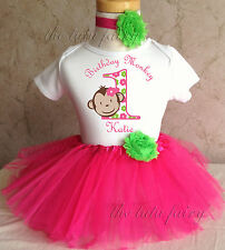 Mod Monkey green flower Birthday Girl SET Pink Tutu Outfit 1st 2nd 3rd 4th 5 6 7