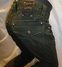 ROCK REVIVAL JEANS Mens Straight Leg Twill Army Green Olive Flap Pocket RPM025J5