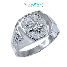 Men's Sterling Silver Marijuana Leaf Cannabis Ring