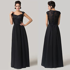 HEPBURN Masquerade Evening Cocktail Party Gown Prom Bridesmaid Black Lace Dress