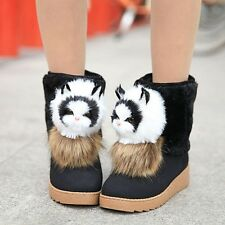 Women Faux Suede Metal Decor Snow Winter Warm Boots Casual Playing Snowman Shoes