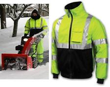 Hi Viz Class 3 Lime Safety Bomber Jacket With Zip Out Fleece Lining