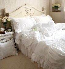 Luxury Handmade Pleated White Embroidery Lace Ruffle Duvet Cover Bedding Set1412
