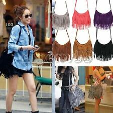 Celebrity Fashion Fringe Tassel Suede Shoulder Messenger Bag Cross Body Handbag