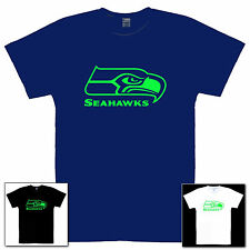 Seahawks Neon Green Logo on any size T Shirt Child Sizes Youth XS thru Adult 3XL