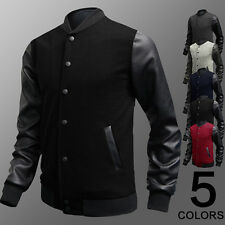 Luxury Mens Cool Synthetic Leather Splicing Coat Unique Design 5 Color Charming