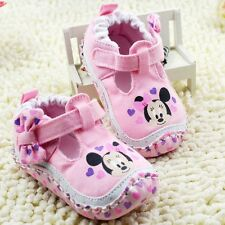 Classic Baby girl pink Minnie Crib Shoes soft soled Shoes Size 0-6 6-12 12-18mth