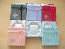 6 x Silk Lined Cardboard Jewellery Bracelet Gift Boxes- Choice of Colour